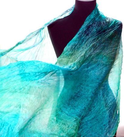 Шелковый шарф бирюзово зеленый с серым ручной работы на заказ
