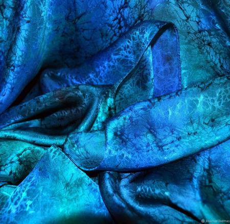 Шарф сине изумрудный шелк жаккард ручной работы на заказ