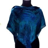 Большой шелковый платок темно-синий