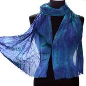 Шелковый шарф разноцветный крепдешиновый небольшой