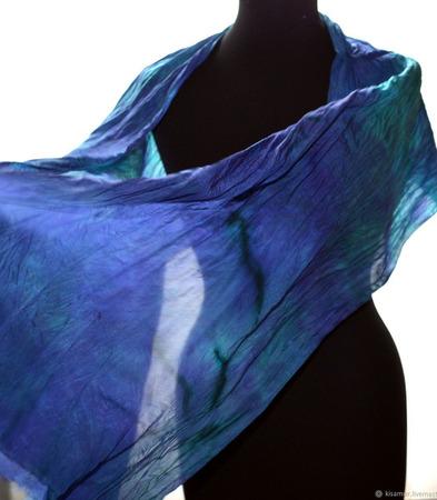 Шелковый шарф разноцветный крепдешиновый небольшой ручной работы на заказ