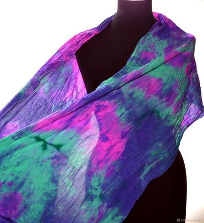 Женский шелковый шарф разноцветный крепдешиновый ручной работы на заказ