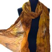 Женский шелковый шарф длинный коричневый