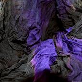 Шарф черно фиолетовый большой шифоновый жатый шёлковый