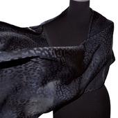 Женский шарф черный жаккард леопард принт
