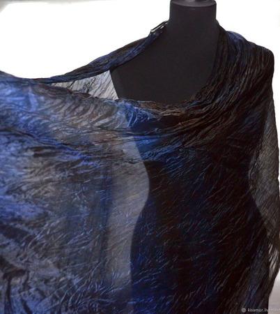 Шелковый шарф синий с коричневым ручной работы на заказ