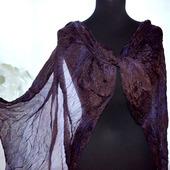 Шелковый шарф коричнево-фиолетовый женский