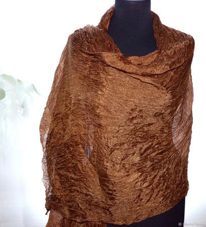 Шелковый шарф светло-коричневый длинный ручной работы на заказ