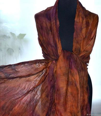 Шарф шерсть и шёлк коричнево-карамельный с фиолетовым ручной работы на заказ