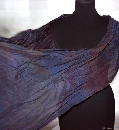 Шарф шелковый крепдешиновый небольшой серо-бордовый ручной работы на заказ