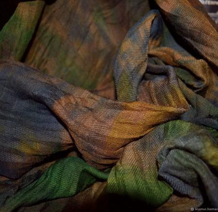 Шарф шерсть и шёлк ручная работа коричнево-зеленый ручной работы на заказ