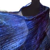 Шарф шёлковый черно-сине-фиолетовый длинный женский