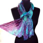 Атласный шелковый шарф бирюзово-изумрудный с бордовым
