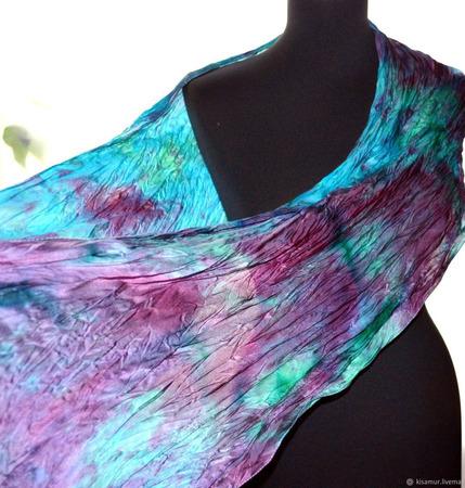 Атласный шелковый шарф бирюзово-изумрудный с бордовым ручной работы на заказ