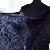 Шарф шелковый темно-синий с черным