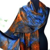 Шарф палантин сине-оранжевый жаккардовый