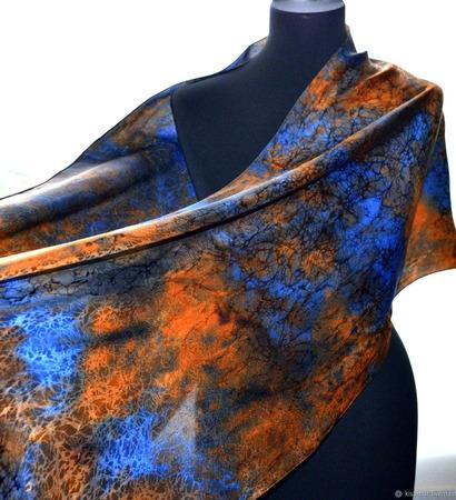 Шарф палантин сине-оранжевый жаккардовый ручной работы на заказ