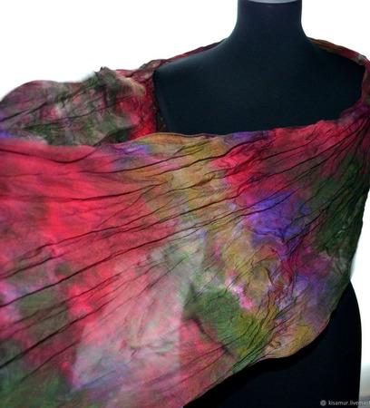 Шарф женский шелковый разноцветный крепдешиновый ручной работы на заказ