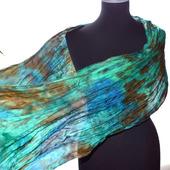 Шарф женский шелковый изумрудно-сине-коричневый