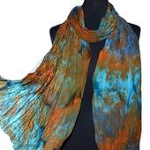 Шарф шелковый оранжево-сине-голубой