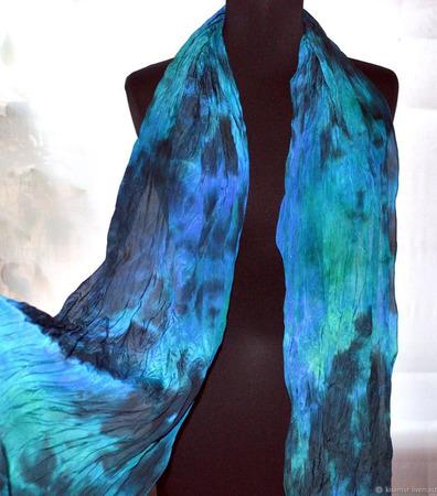 Шарф сине-изумрудный ручной работы на заказ