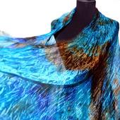 Шарф-палантин шелковый голубой
