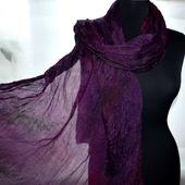 Женский шарф шёлковый бордово-фиолетовый
