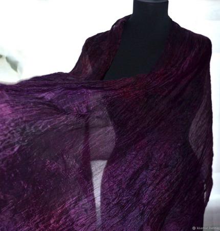 Женский шарф шёлковый бордово-фиолетовый ручной работы на заказ