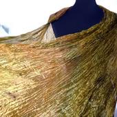Шелковый шарф бежево-оливковый длинный
