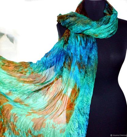 Шарф женский длинный разноцветный ручной работы на заказ