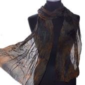 Черно-коричневый шелковый шарф