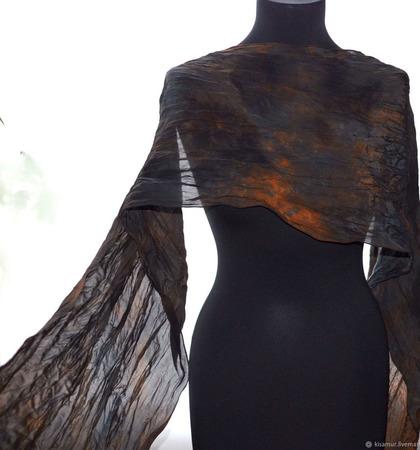 Черно-коричневый шелковый шарф ручной работы на заказ