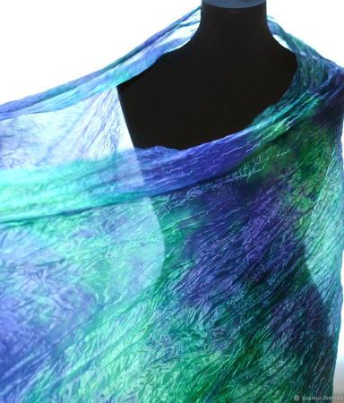 Шарф шелковый длинный широкий изумрудно-сиреневый ручной работы на заказ
