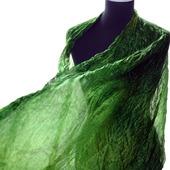 Шелковый шарф женский зелёный