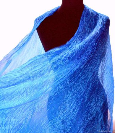 Шарф светло-синий васильковый ручной работы на заказ
