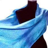 Сиренево-голубой шелковый шарф