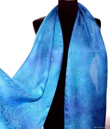 Сиренево-голубой шелковый шарф ручной работы на заказ