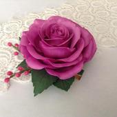 Заколка-зажим Роза сиреневая
