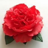 """Брошь-заколка """"Красная пионовидная роза"""""""