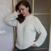 "Джемпер спицами с узором ""Малинка"" на рукавах"