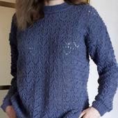 Ажурный пуловер связанный спицами