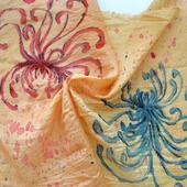 Люкс платок на руку сумку оранжевый красный синий хризантемы