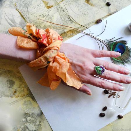 "Люкс платок на руку, сумку ""Хризантемы"" ручной работы на заказ"