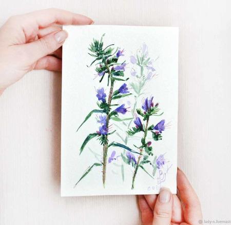 """Картина """"Сине-фиолетово-розовый цветок"""" ручной работы на заказ"""