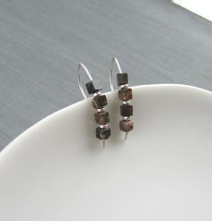 """Серьги """"Asphalt flower"""" из яшмы и серебра ручной работы на заказ"""