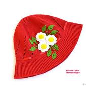 """Вязаная детская панамка """"Красная шапочка"""""""