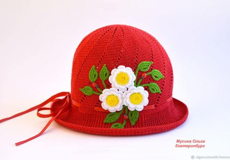 """Вязаная детская панамка """"Красная шапочка"""" ручной работы на заказ"""