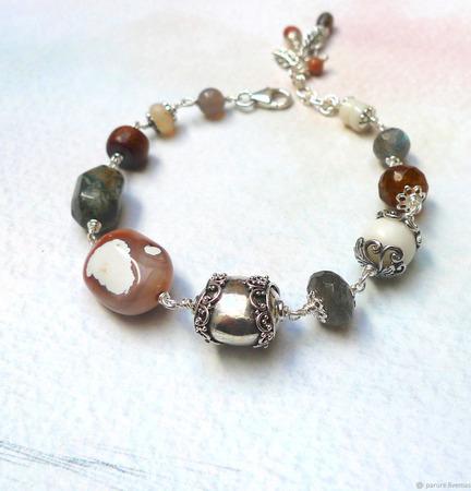 Браслет в стиле бохо с натуральными камнями серебряный ручной работы на заказ