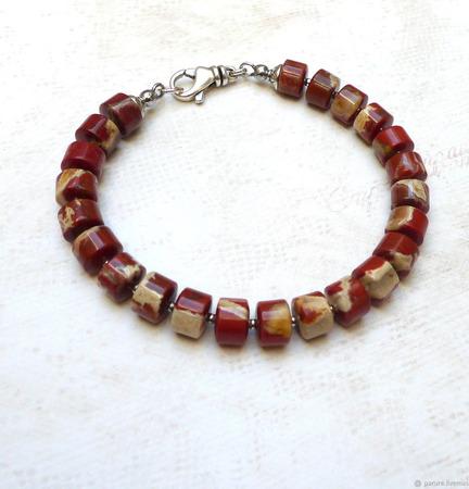 Серебряный браслет с красной яшмой ручной работы на заказ