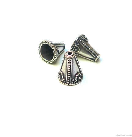 Конус / шапочка для бусин, серебро 925 пробы ручной работы на заказ